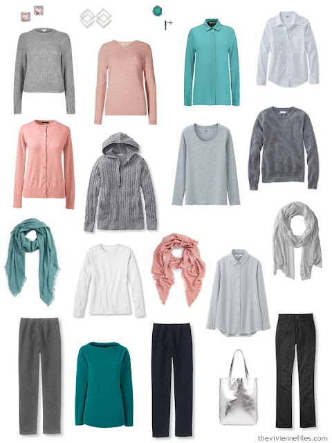 capsule wardrobe in grey and black with silver, jade and dusty rose