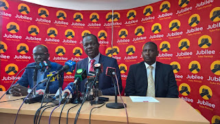 JAP officials hold a press statement in party headquarters in Pangani. PHOTO | Courtesy