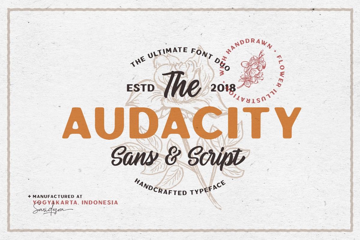 Audacity Duo Font - Free Script Sans Serif Typeface