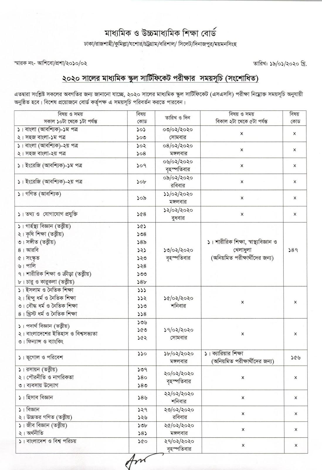 SSC, Dhakil Examination 2020 Routine