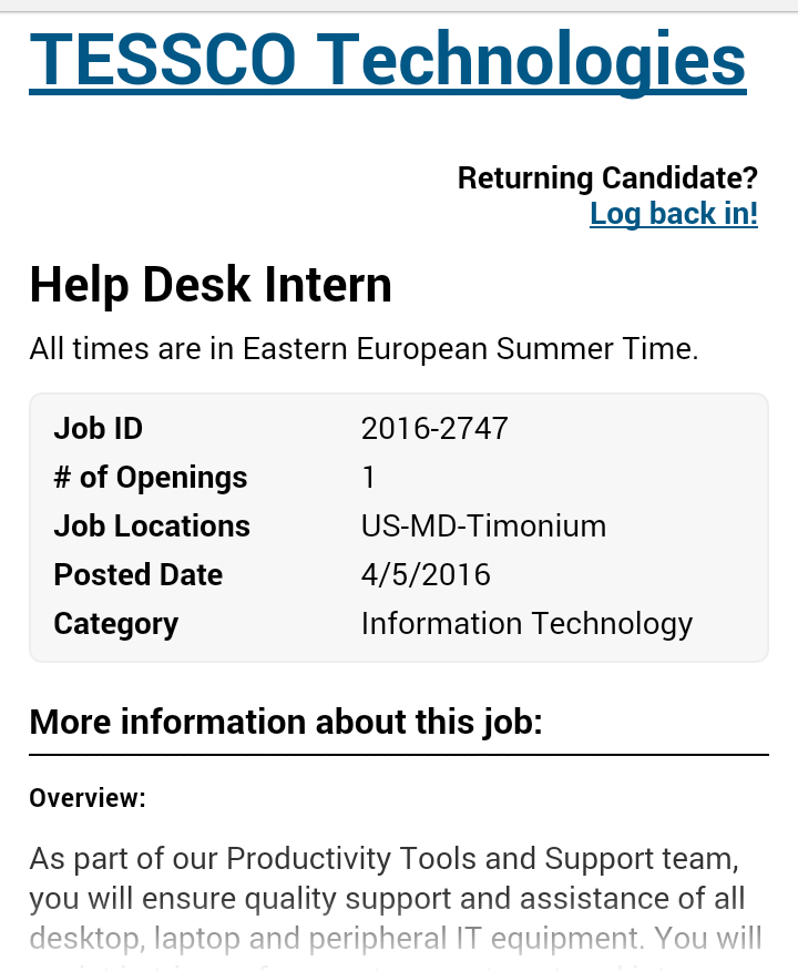Help Desk Intern Design Ideas