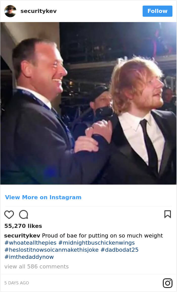 Ed Sheeran's Security Guard Shares Awesome Pictures Of His Boss In Instagram