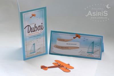 Meniu si plic de bani botez tematica travel destinatia Dubai(