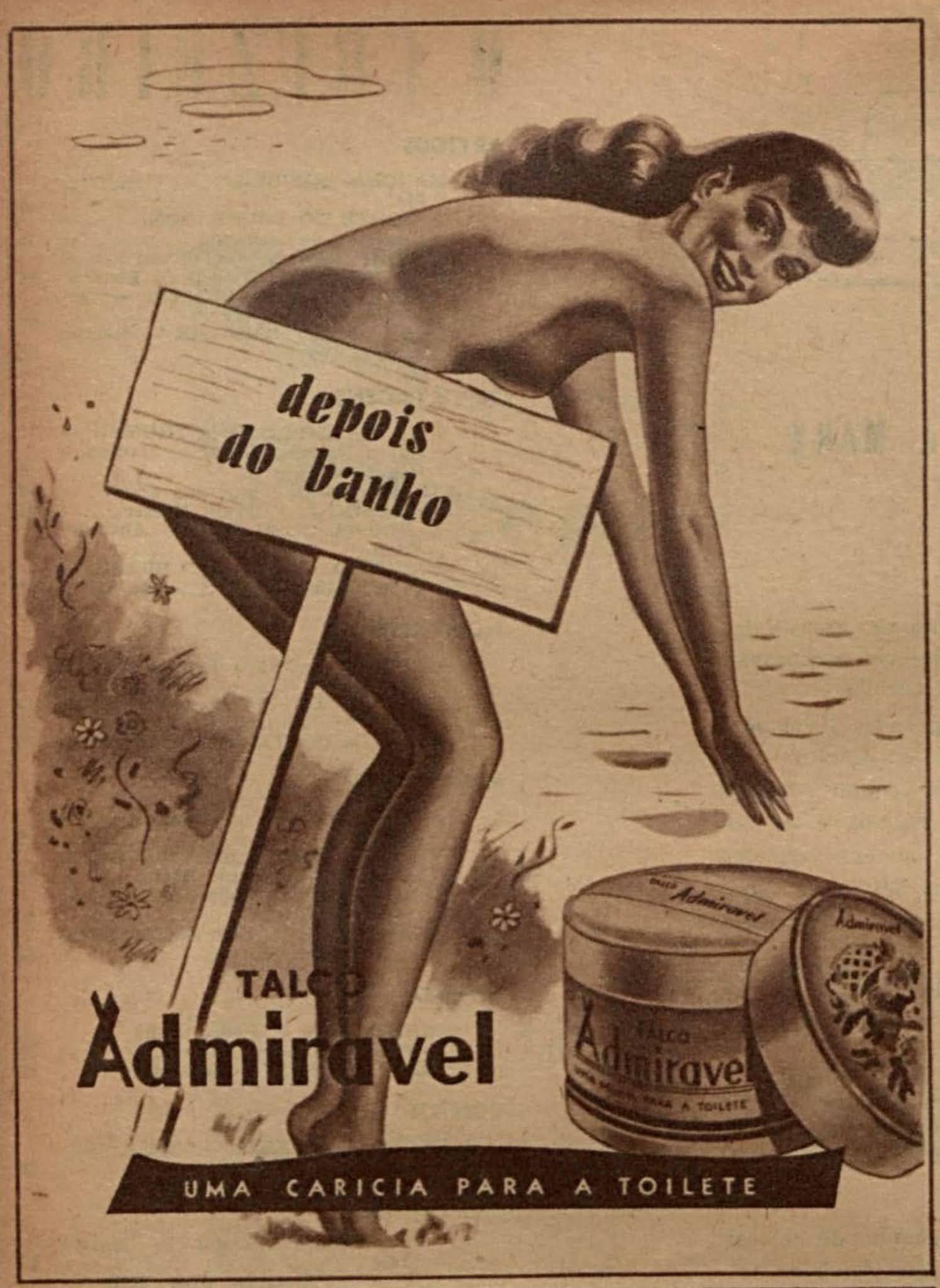 Anúncio antigo do Talco Admirável em 1947 para uso após o banho