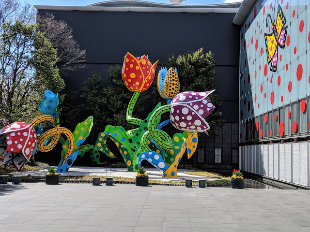 What to see in Matsumoto Japan: colorful flower sculptures outside Matsumoto City Museum of Art