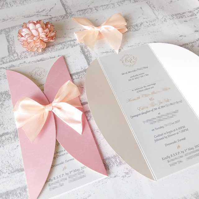 Sweet Peachy Pink Wedding Invitation Cards