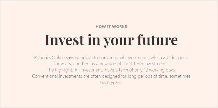 Инвестиционные планы Robotics Online
