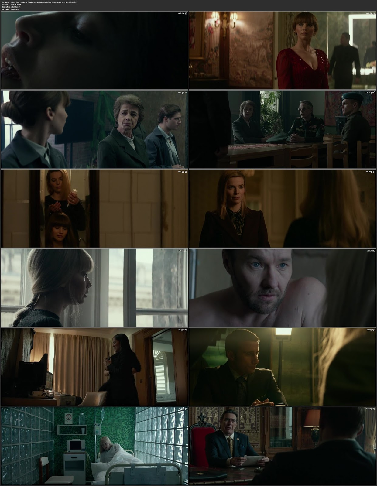 Red Sparrow 2018 Hollywood 300MB BlURay 480p Esubs