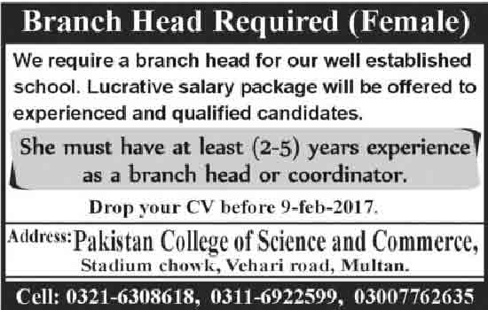 Pakistan College Of Science And Commerce Jobs In Multan