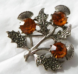 Amber thistle Scottish brooch by Miracle