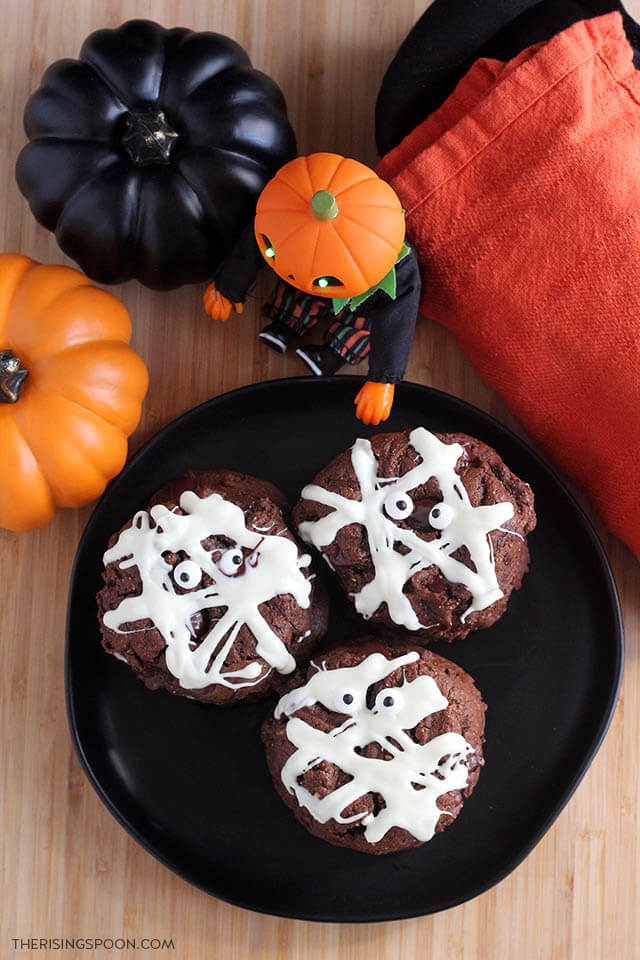 Double Chocolate Peanut Butter Halloween Mummy Cookies