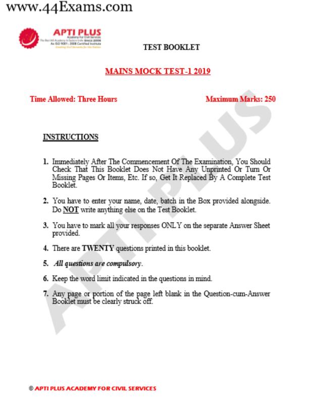 Apti-Plus-UPSC-Mains-11-Mock-Test-2019-With-Solutions-PDF