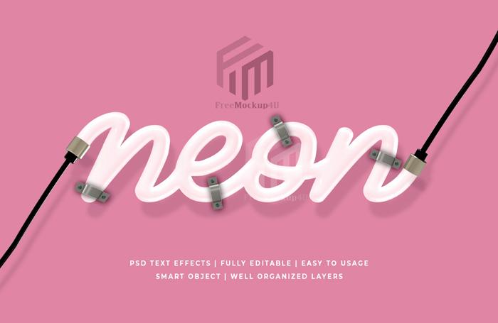 Neon 3D Editable Text style Effect Psd Mockup