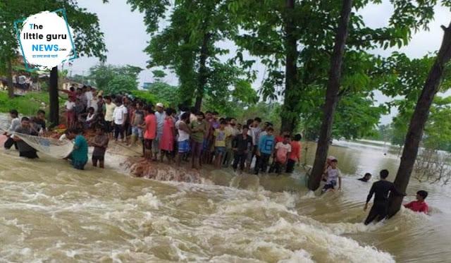 बाढ़ के पानी ने सड़क तोड़ा, ढाका-बैरगनिया मुख्यपथ पर आवागमन बाधित