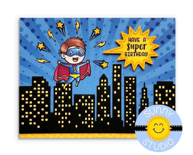 Sunny Studio Stamps: Super Duper Superhero Birthday Card (using Cityscape Border Die, Heroic Halftones 6x6 Paper & Speech Bubble from Comic Strip Dies)