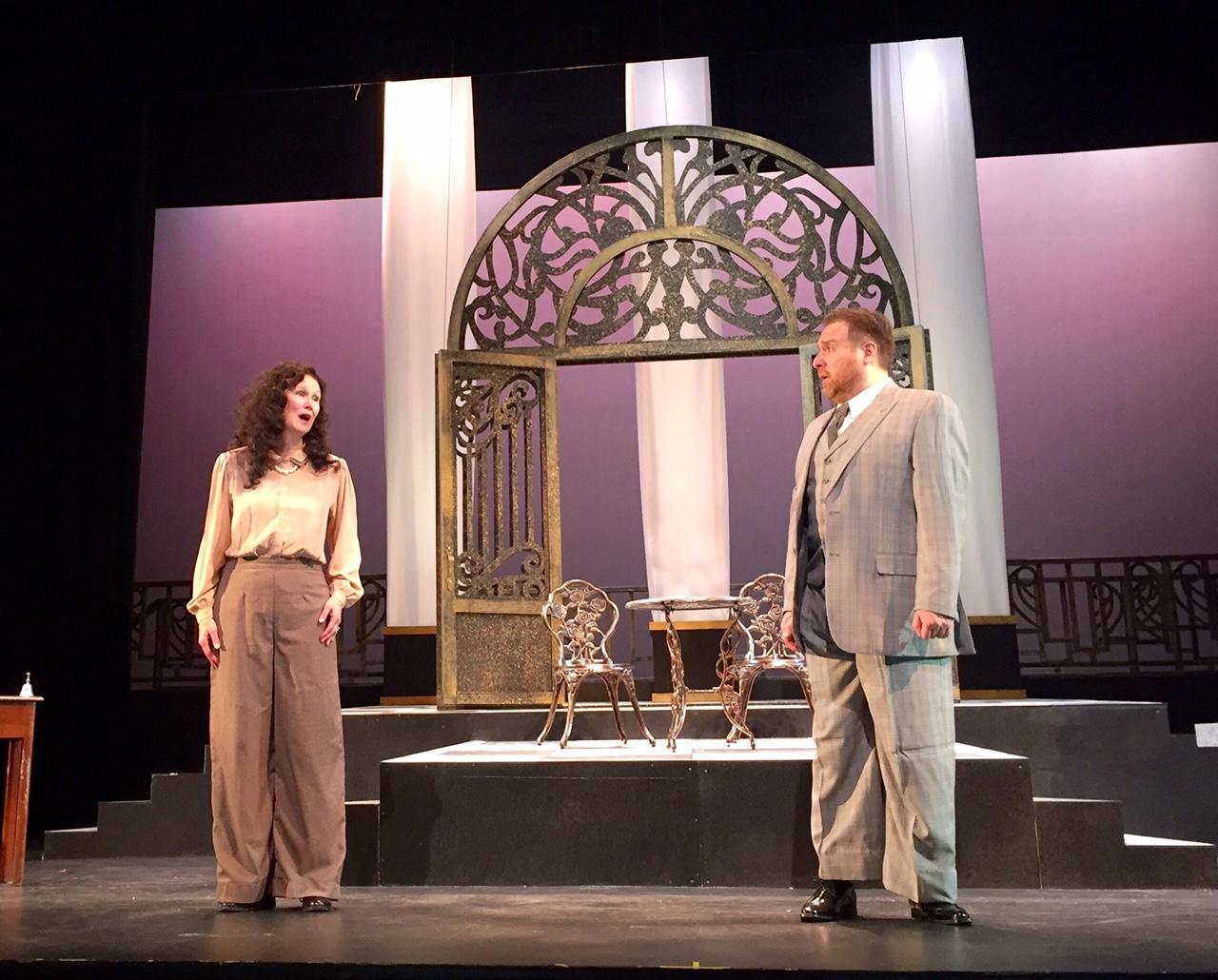 IN PERFORMANCE: Soprano AMY COFIELD WILLIAMSON as Violetta (left) and baritone LEVI HERNANDEZ as Germont (right) in Opera Roanoke's production of Giuseppe Verdi's LA TRAVIATA, April 2016 [Photo by Scott Williamson; used with permission]