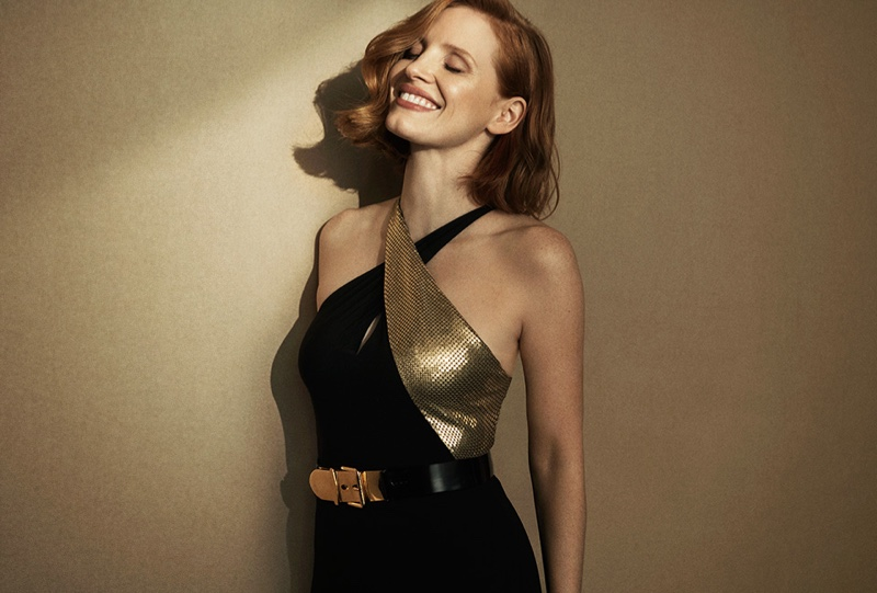 Jessica Chastain poses for Ralph Lauren Woman Intense fragrance advertisement