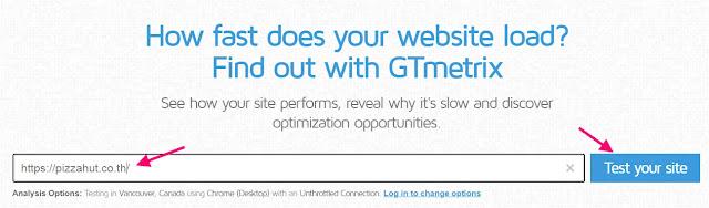 โปรแกรม GTmetrix ช่วยในการตรวจสอบความเร็วของเว็บไซต์เพื่อดูประสิทธิภาพของเว็บไซต์เป็นข้อมูลในการปรับแต่งการทำ seo