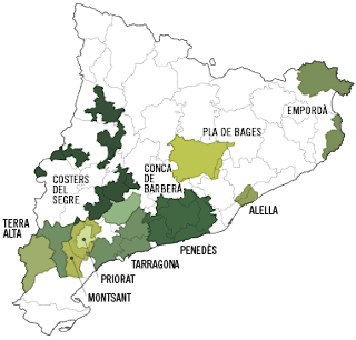 mapa de las DO Catalanas