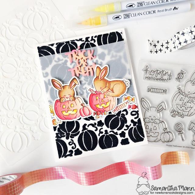 Trick or Treat Bunnies Card by Samantha Mann | Hoppy Halloween Stamp Set and Pumpkin Patch Stencil by Newton's Nook Designs #newtonsnook