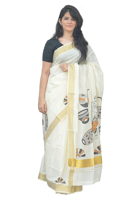 Southloom Kerala Kasavu Saree With Mural Traditional Design