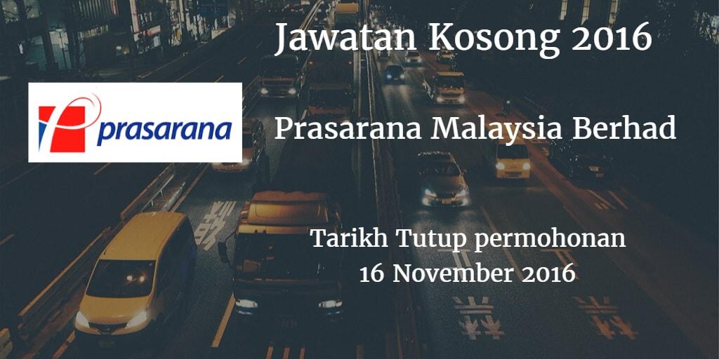 Jawatan Kosong Prasarana Malaysia Berhad 16 November 2016