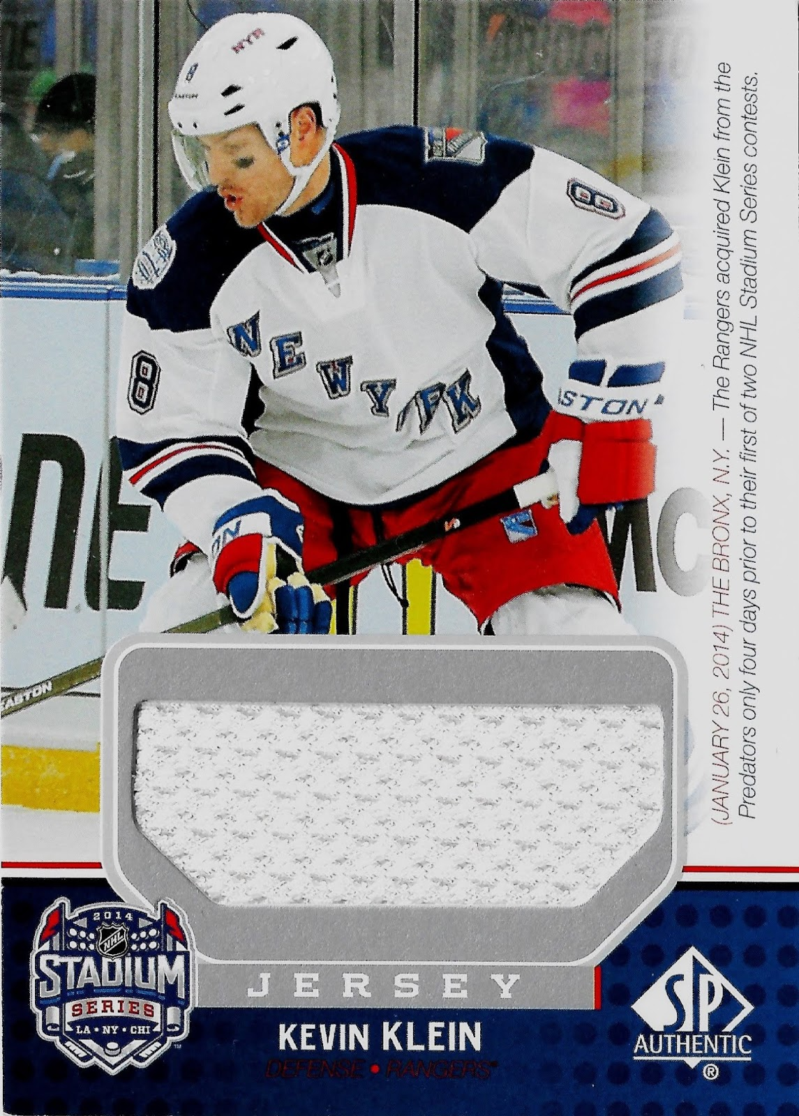 best sneakers 5af1f f18c6 Hell's Valuable Collectibles: Kevin Klein Jersey Card