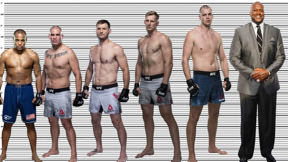 """Stefan Struve (6'11"""") standing with  with Daniel Cormier (5'10""""), Cain Velasquez (6""""), Stipe Miocic (6'3.5""""), Alexander Volkov (6'7"""") and Shaquille O'Neal (7'1"""")"""