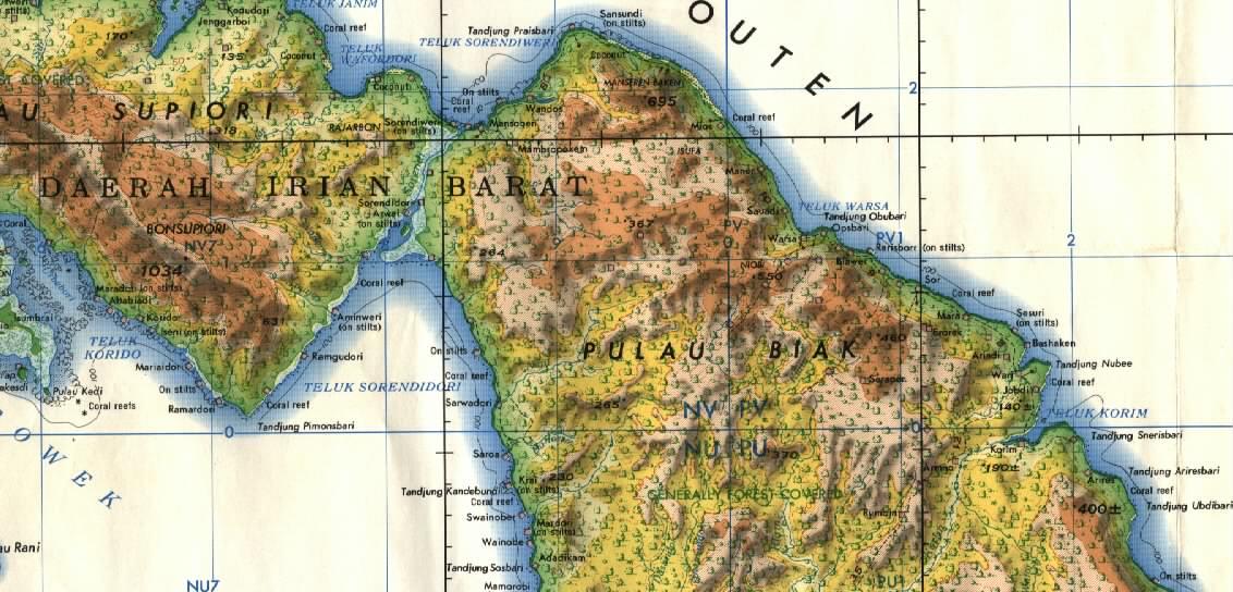 amazing indonesia biak topographic map scale 250k