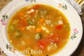 A quick, small batch soup, made using a vegetable mirepoix of onion, carrot and celery, with fresh minced garlic, okra, tomatoes, leftover cooked chicken and rice and a quality commercial stock or broth.