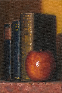 Still life oil painting of three books standing upright beside an apple.