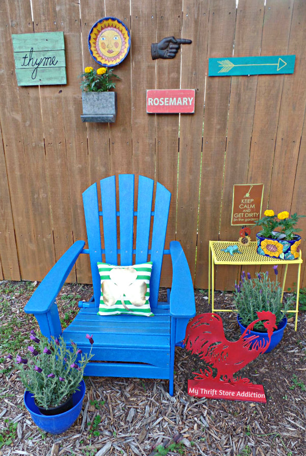 Signs of Spring at Secret Garden Herbs mythriftstoreaddiction.blogspot.com  A colorful sitting spot at Secret Garden Herbs
