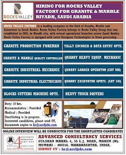 Rocks Valley Factory Hiring in Riyadh Saudi Arabia