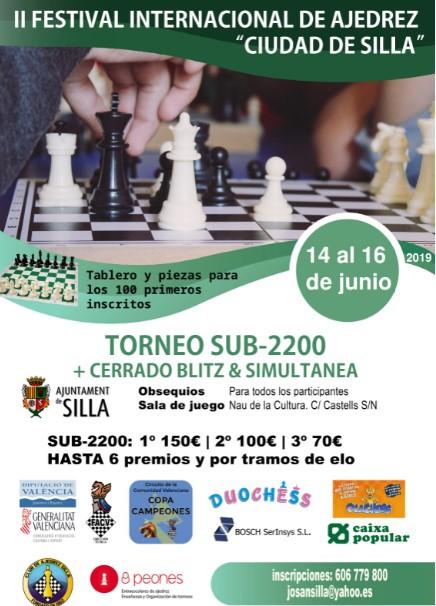14-15-16 Junio, El IRT Sub-2200 Ciudad de Silla (CC), regalará a los 100 primeros inscritos, tablero y piezas..