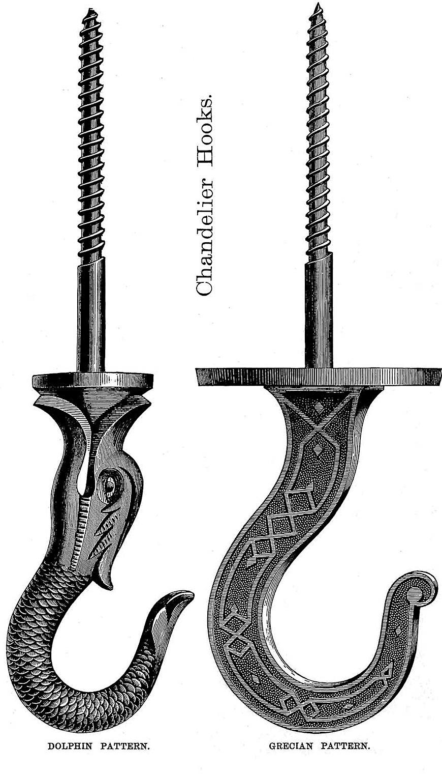 1874 chandelier hooks, an ornamented illustration