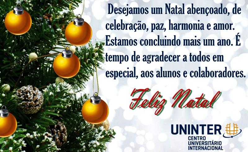 Uninter deseja a todos um Feliz Natal e Próspero Ano Novo