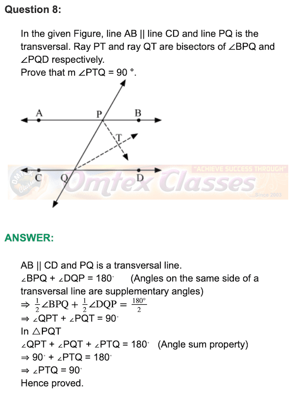 Chapter 3 - Triangles Mathematics Part II Solutions for Class 9 Math PRACTICE SET 3.1