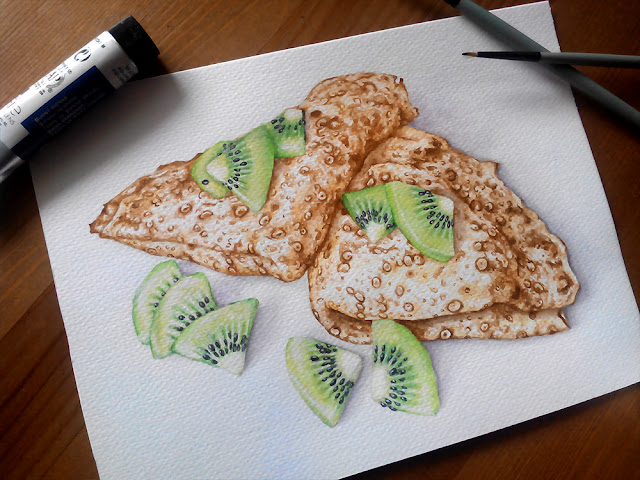 pancakes and kiwi watercolor food illustration