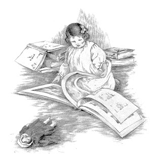 girl reading book antique illustration download