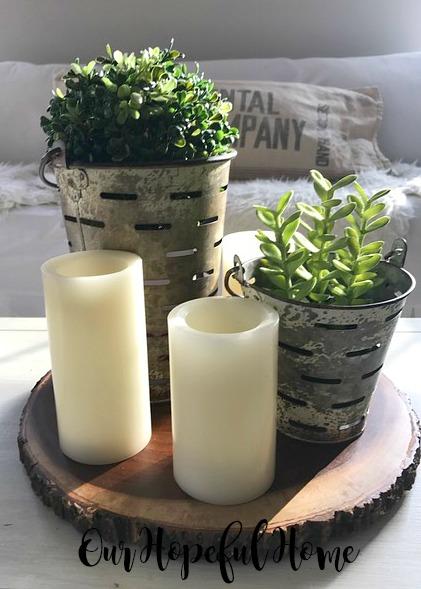 wood slice candle boxwood olive bucket