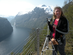 Shooting video in Norway. Photograph of Janie Robinson, Travel Writer