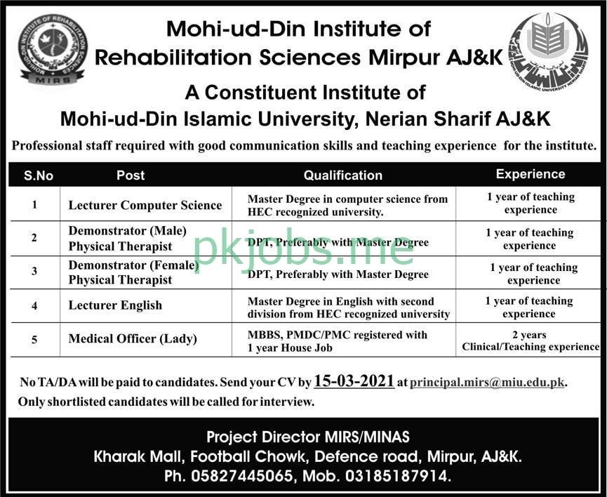 Latest Mohi ud Din Institute of Rehabilitation Sciences Medical Posts 2021
