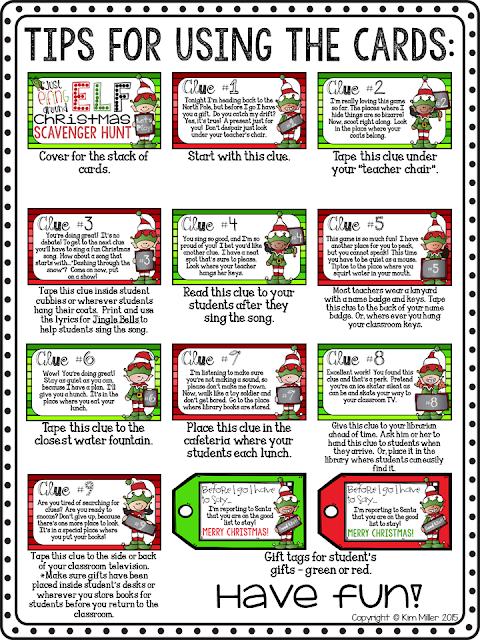 Elf Christmas Scavenger Hunt Game Cards
