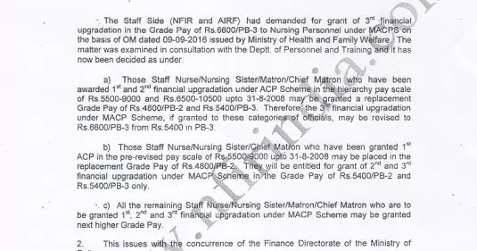 MACP to Nursing Personnel : Grant of Grade Pay 6600/PB-3 - Railway