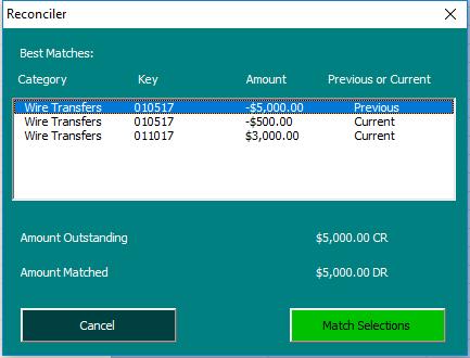 Matching Transactions