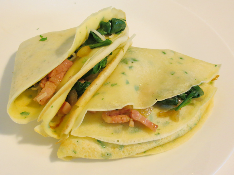 Crepes de Bacon e Espinafre