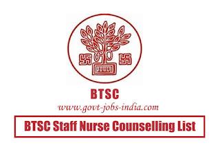 BTSC Staff Nurse Counselling List 2019