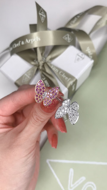 Van Cleef Two Butterfly Sapphires and Diamond Between the Finger Ring