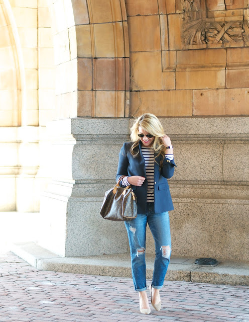 j.crew navy blazer and banana republic boyfriend jeans