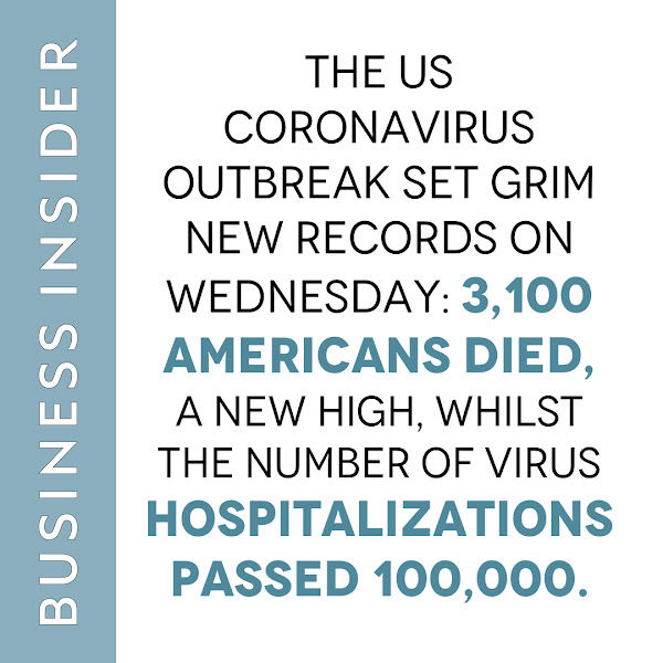 The US coronavirus outbreak set grim new records on Wednesday: 3,100 Americans died, a new high, whilst the number of virus hospitalizations passed 100,000. — Sinéad Baker, Business Insider News Reporter